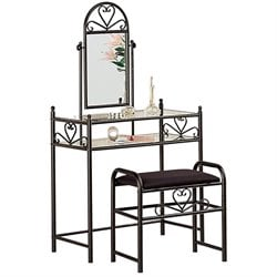 Coaster Frosted Black Wrought Iron Makeup Vanity Table Set with Mirror in Black Velour
