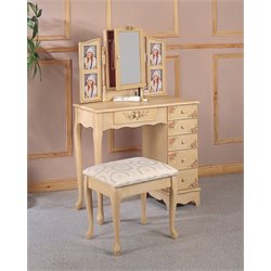 Coaster Hand Painted Wood Makeup Vanity Table Set with Mirror in Ivory