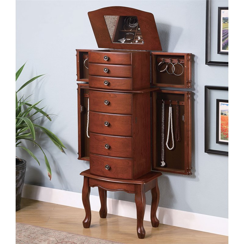 Coaster Seven Drawer Jewelry Armoire with Antiqued Hardware