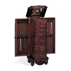 Coaster Seven Drawer Antique Jewelry Armoire in Dark Cherry