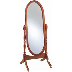 Coaster Oval Cheval Mirror in Cherry