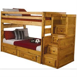 Coaster Wrangle Hill Wood Bunk Bed in Amber Wash has stairs