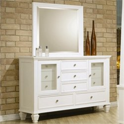 Coaster Classic Eleven Drawer Dresser with Mirror Set in White