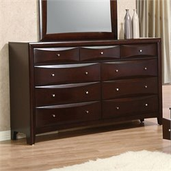 Coaster Phoenix 7 Drawer Double Dresser in Rich Cappuccino