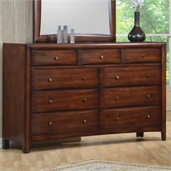 Coaster Hillary and Scottsdale Dresser in Warm Brown Finish