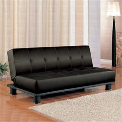 Coaster Contemporary Armless Convertible Sofa Bed in Black Vinyl