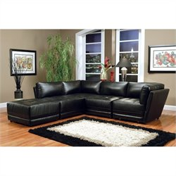 Coaster Kayson Bonded Leather Sectional in Black