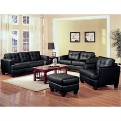 Coaster Samuel Black Contemporary Leather Sofa