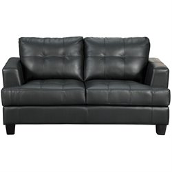 Coaster Samuel Black Contemporary Leather Loveseat