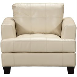 Coaster Leather Club Chair in Ivory
