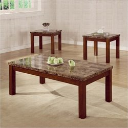 Coaster 3 Piece Marble Look Top Occasional Table Set in Cherry