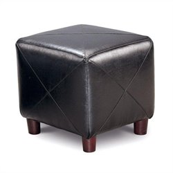 Coaster Contemporary Fabric Cube Ottoman in Black