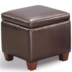 Coaster Faux Leather Accent Cube Foot Stool