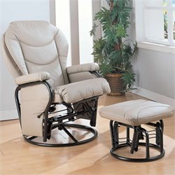 Coaster Faux Leather Recliner Glider Chair with Ottoman in Solid Bone