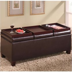 Coaster Faux Leather Storage Ottoman with Reversible Trays