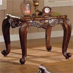 Coaster Venice Traditional Square End Table in Deep Brown Medium Wood Finish