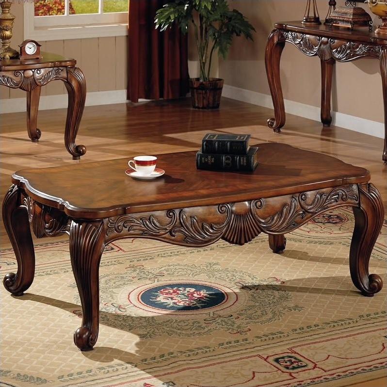 Coaster Venice Traditional Rectangular Cocktail Table in Deep Brown Finish