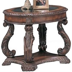 Coaster Doyle Traditional Oval End Table with Glass Inlay Top