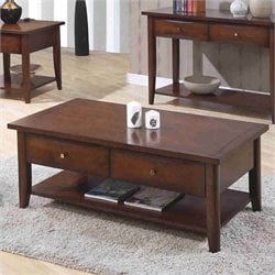 Coaster Whitehall Coffee Table with Shelf & Drawers in Walnut