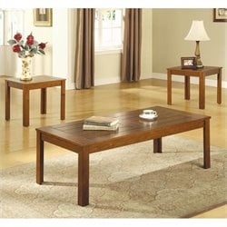 Coaster Casual 3 Piece Occasional Table Set in Warm Pine
