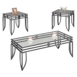 Coaster 3 Piece Matrix Occasional Table Set in Black Pewter