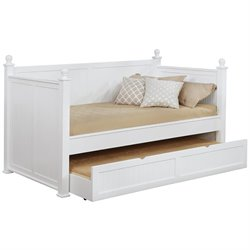 Coaster Wood Daybed With Trundle in White Finish