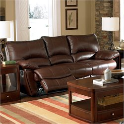 Coaster Clifford Double Reclining Leather Sofa in Brown