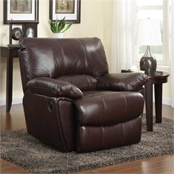 Coaster Clifford Leather Recliner in Brown