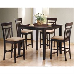 Coaster Moreland 5 Piece Counter Height Dining Set in Cappuccino