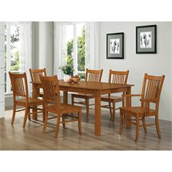 Coaster Meadowbrook Slat Back Mission  Dining Chair in Warm Medium Brown