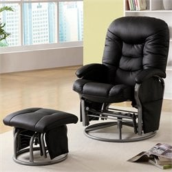 Coaster Faux Leather Recliners with Ottomans in Black