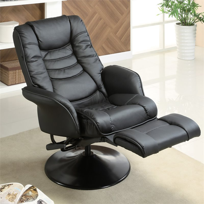 Coaster Faux Leather Recliners Casual Swivel Recliner Chair in Black