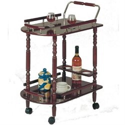 Coaster 3512 Serving Cart with Brass Accents in Cherry Finish