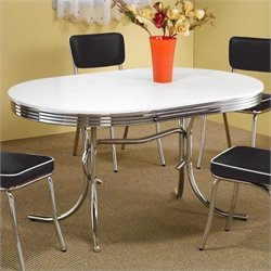Coaster Cleveland Chrome Plated Oval Dining Table with White Top