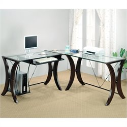 Coaster Division L-Shape Computer Desk Unit in Cappuccino Finish