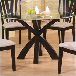 Coaster Shoemaker Crossing Pedestal Dining Table with Glass Top in Cappuccino