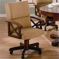 Coaster Marietta Upholsted Arm Game Chair with Casters in Dark Oak