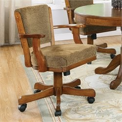 Coaster Mitchell Upholsted Arm Chair with Casters in Oak