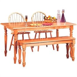 Coaster Damen Rectangular Leg Dining Table in Natural Wood Finish