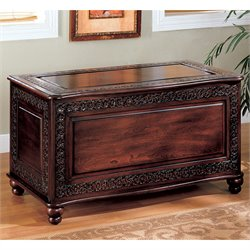 Coaster Traditional Cedar Chest with Carving and Bun Feet