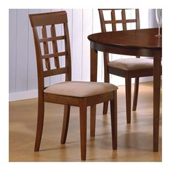 Coaster Hyde Wheat Back  Dining Chair with Fabric Seat in Walnut