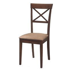 Coaster Hyde Cross Back Dining Chair with Fabric Seat in Walnut