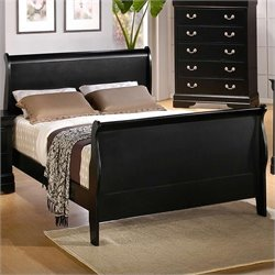 Coaster Louis Philippe Sleigh Bed in Black Finish