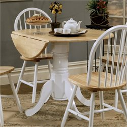Coaster Damen Round Pedestal Drop Leaf Dining Table in Natural and White