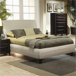 Upholstered Bed in Tan