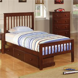 Coaster Parker Twin Slat Bed in Deep Dark Cappuccino