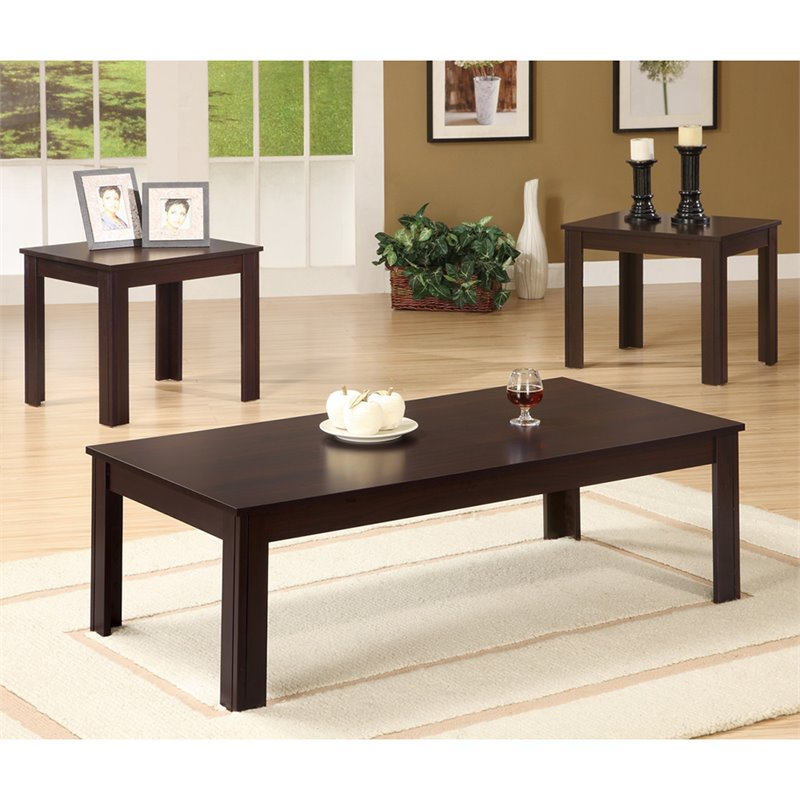 Coaster 3 Piece Occasional Table Sets Casual 3 Piece Set In Walnut 700215