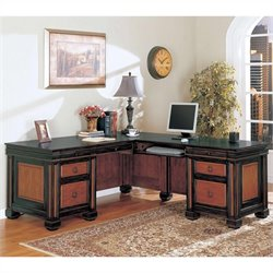 Coaster Chomedey Traditional L-Shaped Desk in Black/Cherry