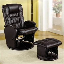 Coaster Faux Leather Like Glider Chair with Matching Ottoman in Brown