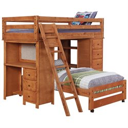 Coaster Wrangle Hill Twin over Twin Loft Bunk Bed in Amber Wash Finish